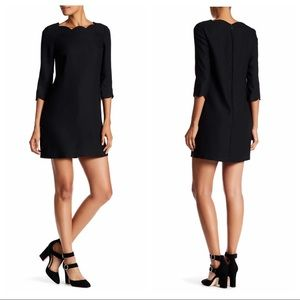 CeCe Leslee Scallop Edge Shift Black Mini Dress